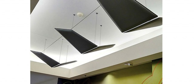 Flap ceiling absorbing ceiling panels